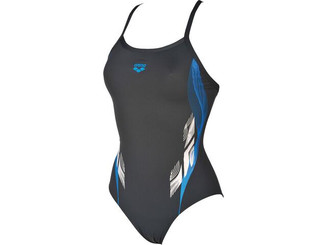 arena Fingerprint One Piece Swimsuit Damen asphalt